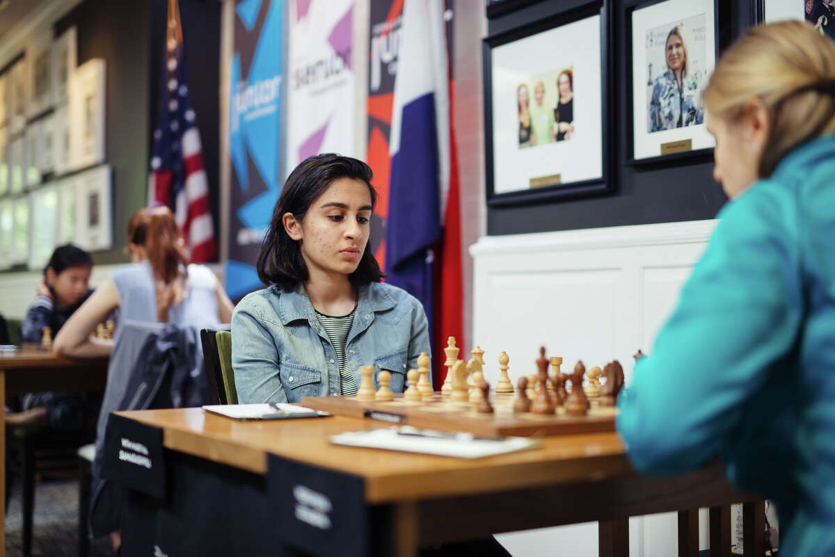 Woman FIDE Master Martha Samadashvili playing in 2019 U.S. Juniors & Senior Championships Round 3. (Photo Courtesy of Saint Louis Chess Club_Crystal Fuller)