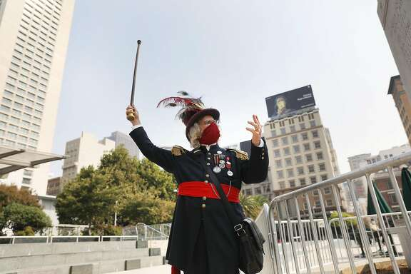 Joseph Amster as Emperor Norton gestures while talking as he starts his tour in Union Square on Wednesday, September 30, 2020 in San Francisco, Calif.