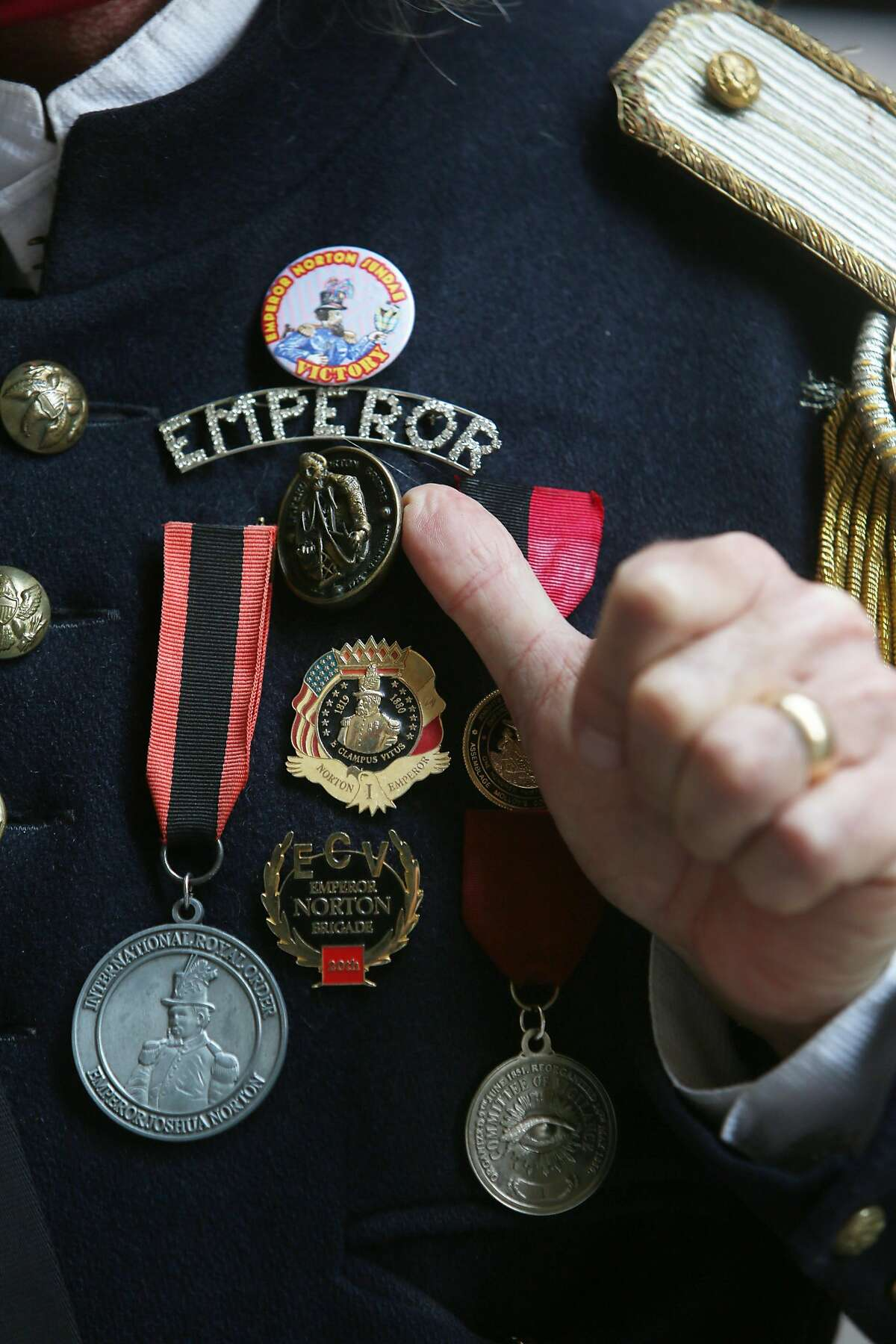 Joseph Amster as Emperor Norton wears a pin that says Emperor along with medals on his jacket on Wednesday, September 30, 2020 in San Francisco, Calif.