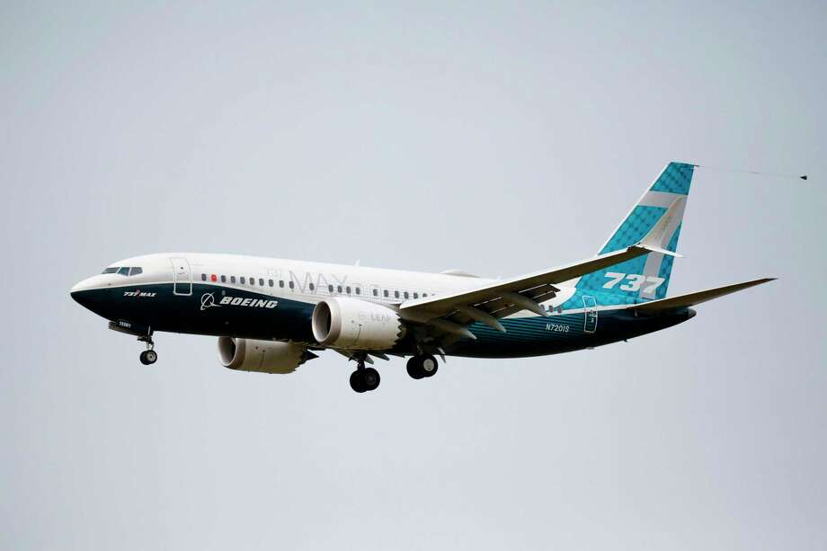 A Boeing 737 MAX airliner lands following an evaluation flight at Boeing Field in Seattle, Washington, on September 30, 2020. Stamford-based aerospace parts manufacturer Hexcel saw its third-quarter revenues plunge in part because of reduced demand for the 737 MAX. Photo: JASON REDMOND / AFP Via Getty Images / AFP or licensors