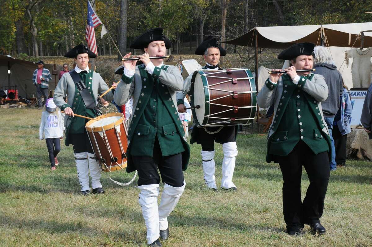 The Great River Fife and Drum Corps made several passes through the Grafton Rendezvous encampment Sunday.