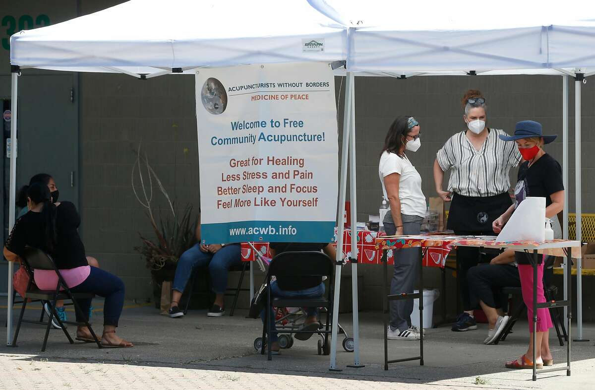 Acupuncture treatment is provided at a mobile wellness workshop for Latino farmworkers organized by the nonprofit organization Botanical Bus: Bilingual Mobile Herb Clinic in Santa Rosa.