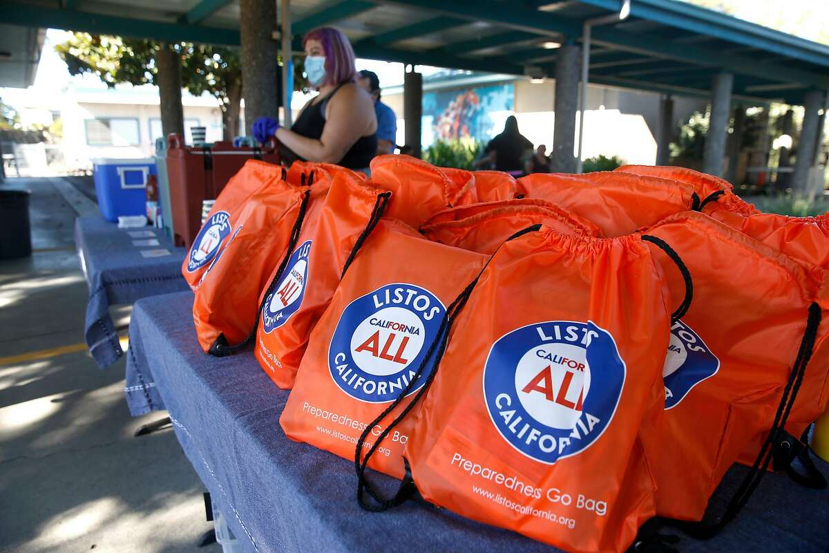 Emergency go bags are provided for Latino farmworkers attending a mobile wellness workshop organized by the nonprofit organization Botanical Bus: Bilingual Mobile Herb Clinic in Santa Rosa.