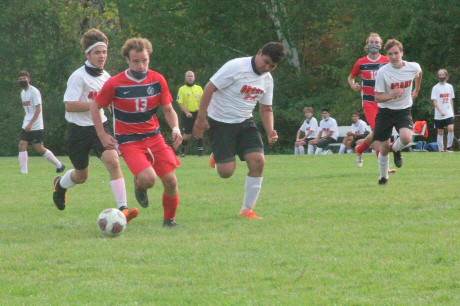 Big Rapids' soccer team plays Hart in district action today. (Pioneer file photo)