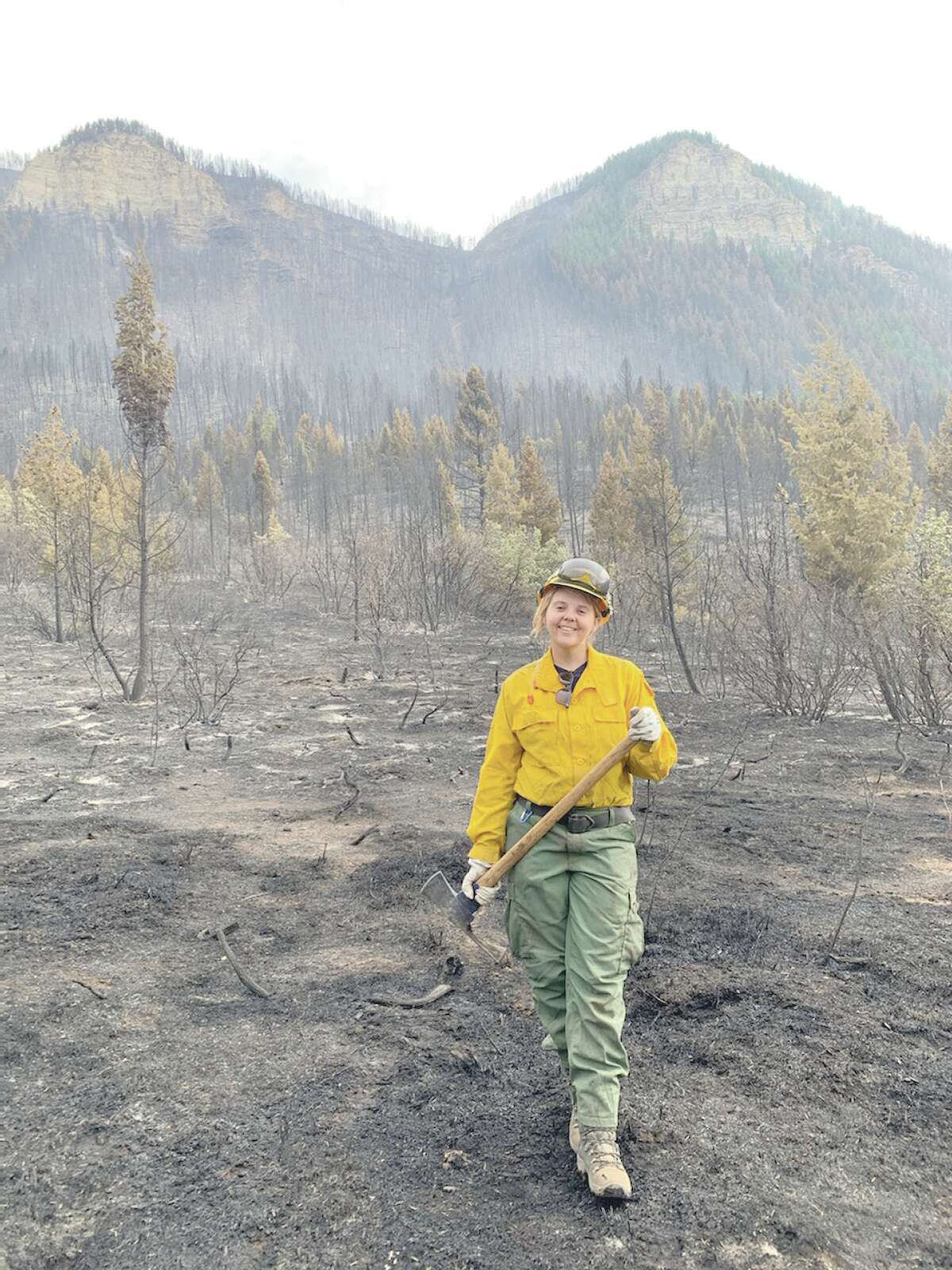 Kayla Alexander, natural resource coordinator at Pere Marquette State Park in Grafton, works on fighting Colorado's Pine Gulch Fire in August.