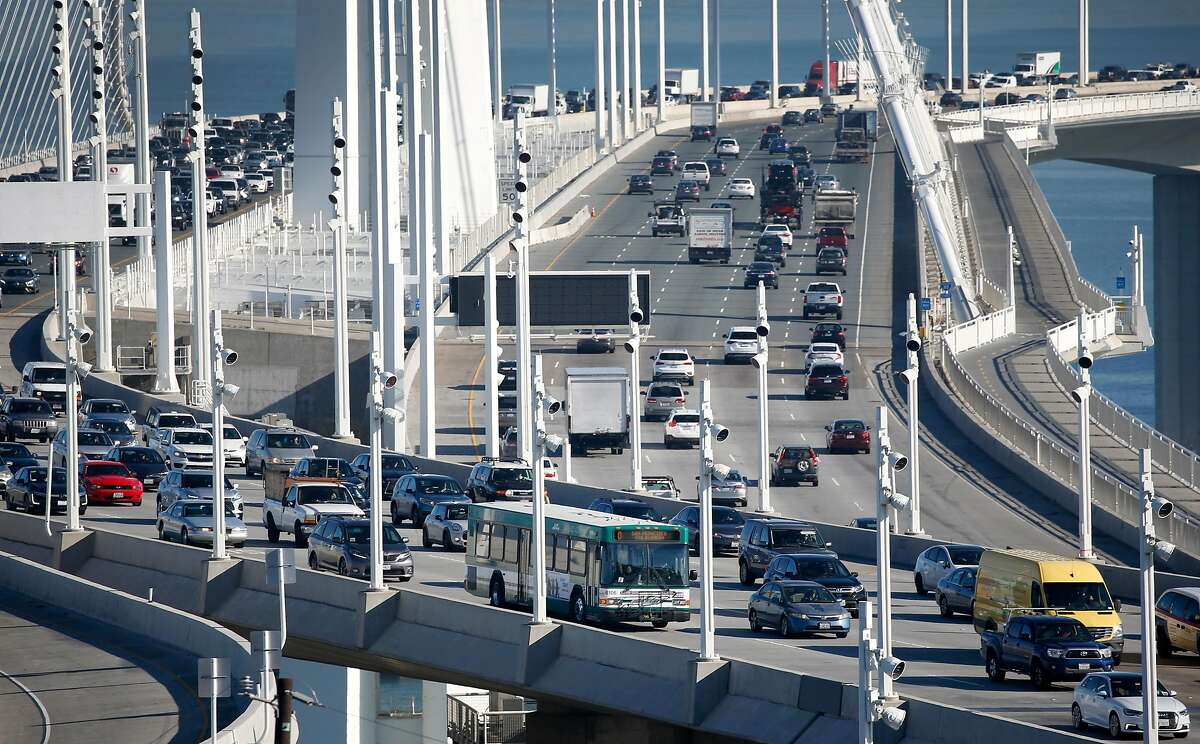 Traffic on the westbound lanes of the Bay Bridge in January, before the pandemic sharply reduced commuter traffic.