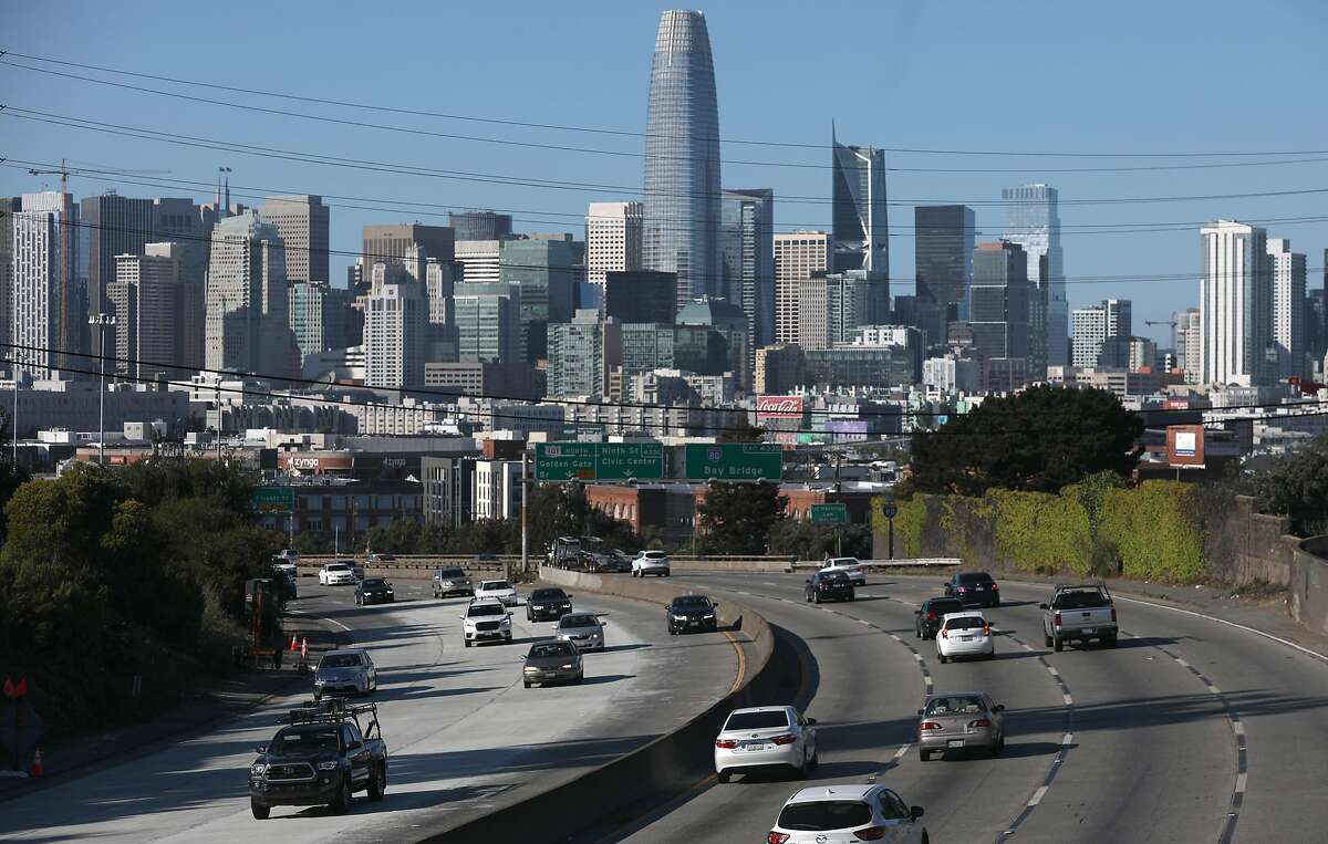The 101 freeway headed toward San Francisco on an April afternoon shows traffic reduced by work-from-home initiatives.