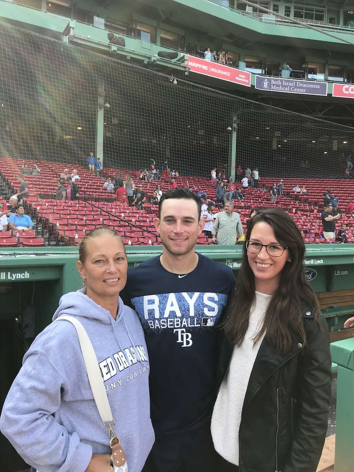 Mom, Caron, Brandon Lowe and Bre Lowe at Fenway Park in 2018.