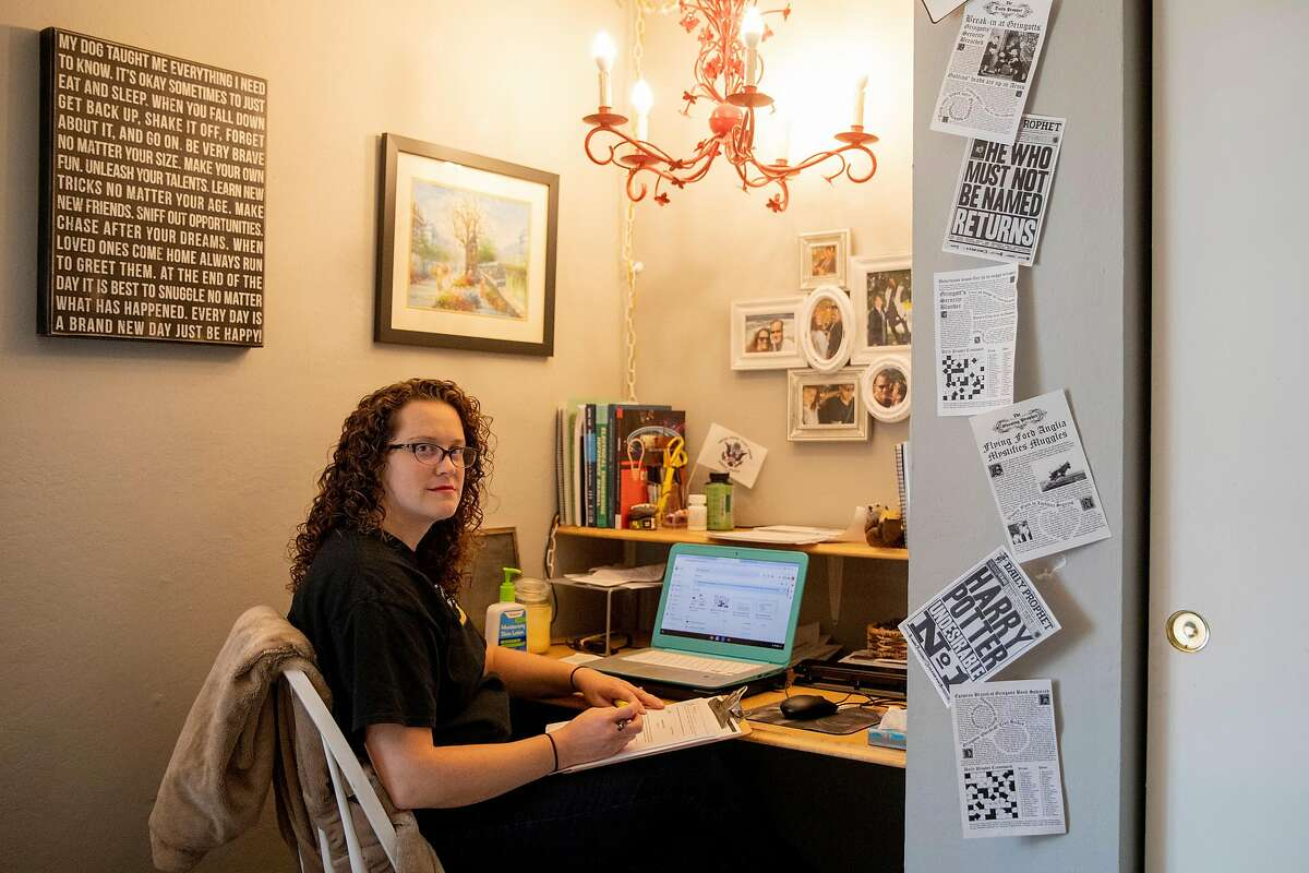 Altarena Playhouse Board President Becky Davis works from her home in Concord. She and other theater professionals are seeking to soften the blow they say AB5 will deal to their industry.