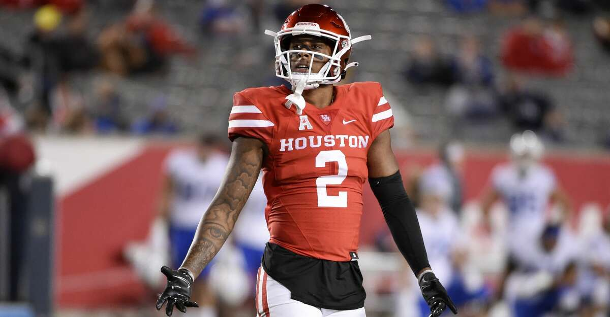 Houston wide receiver Deontay Anderson walks to the line of scrimmage during the second half of an NCAA college football game against BYU, Friday, Oct. 16, 2020, in Houston. (AP Photo/Eric Christian Smith)