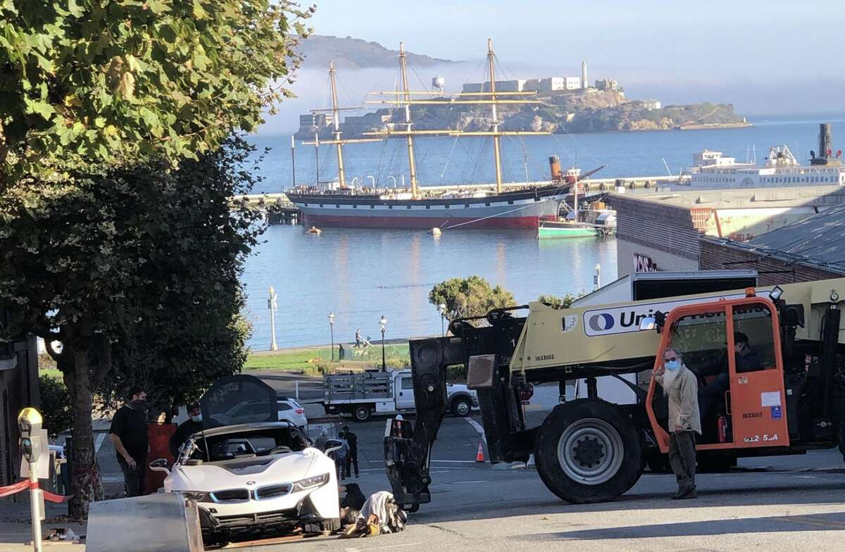 Production is underway for a reported Marvel movie in downtown San Francisco. In this photo, ramps and trucks are photographed ahead of a stunt scene on Larkin St. between North Point and Beach, just outside of the entrance to Ghiradelli Square.