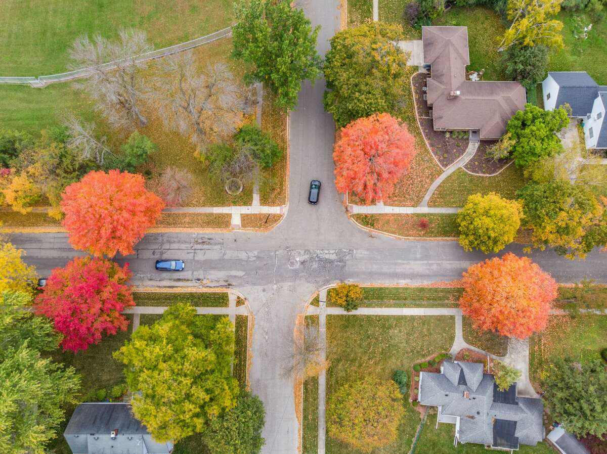 FILE - Fall colors are seen from a drone Thursday, Oct. 15, 2020 in Midland. (Adam Ferman/for the Daily News)