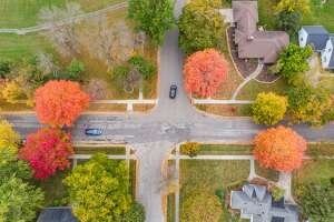 Fall colors are seen from a drone Thursday, Oct. 15, 2020 in Midland. (Adam Ferman/for the Daily News)