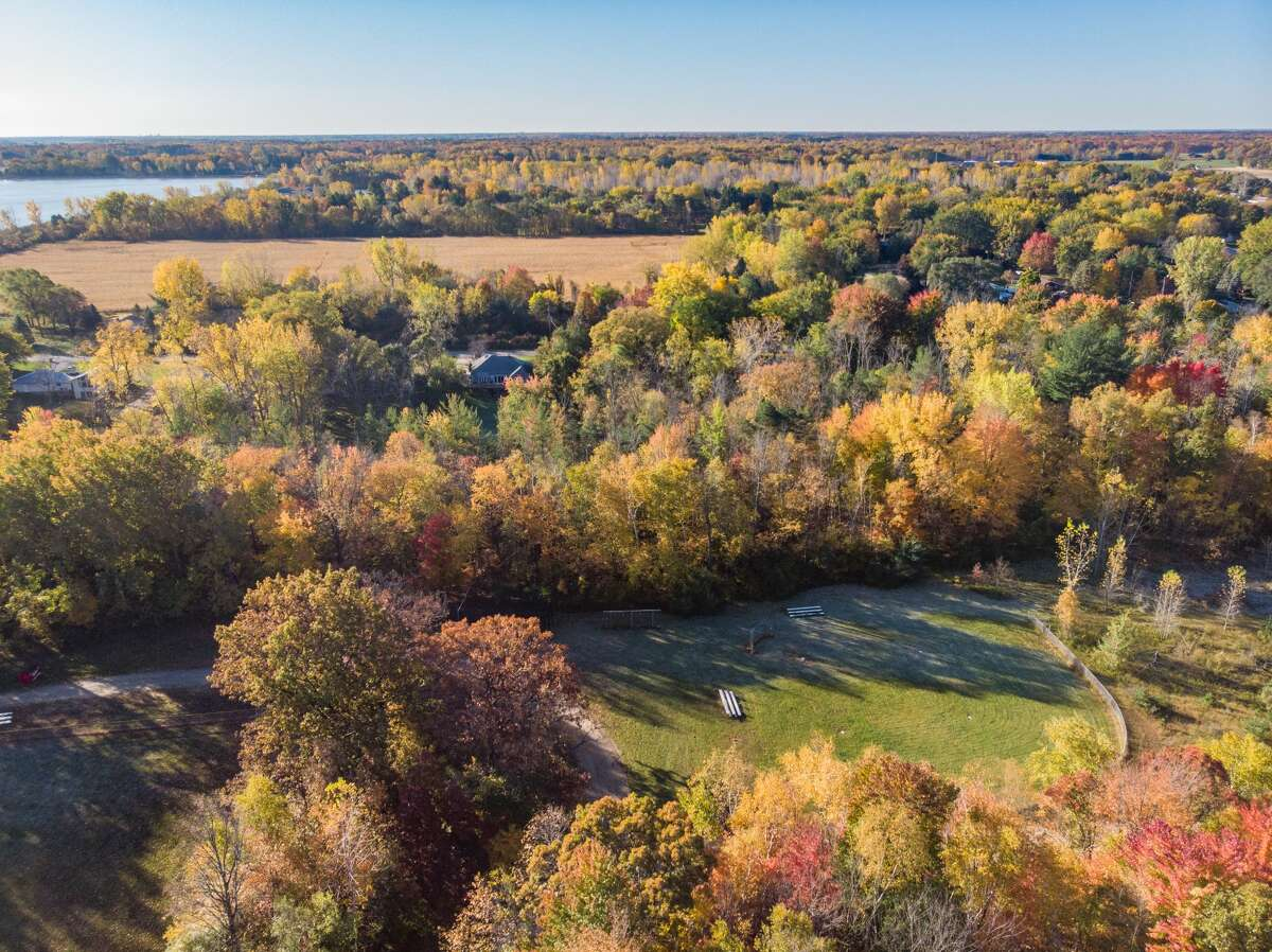 Fall colors are seen from a drone Thursday, Oct. 15, 2020 in Midland.