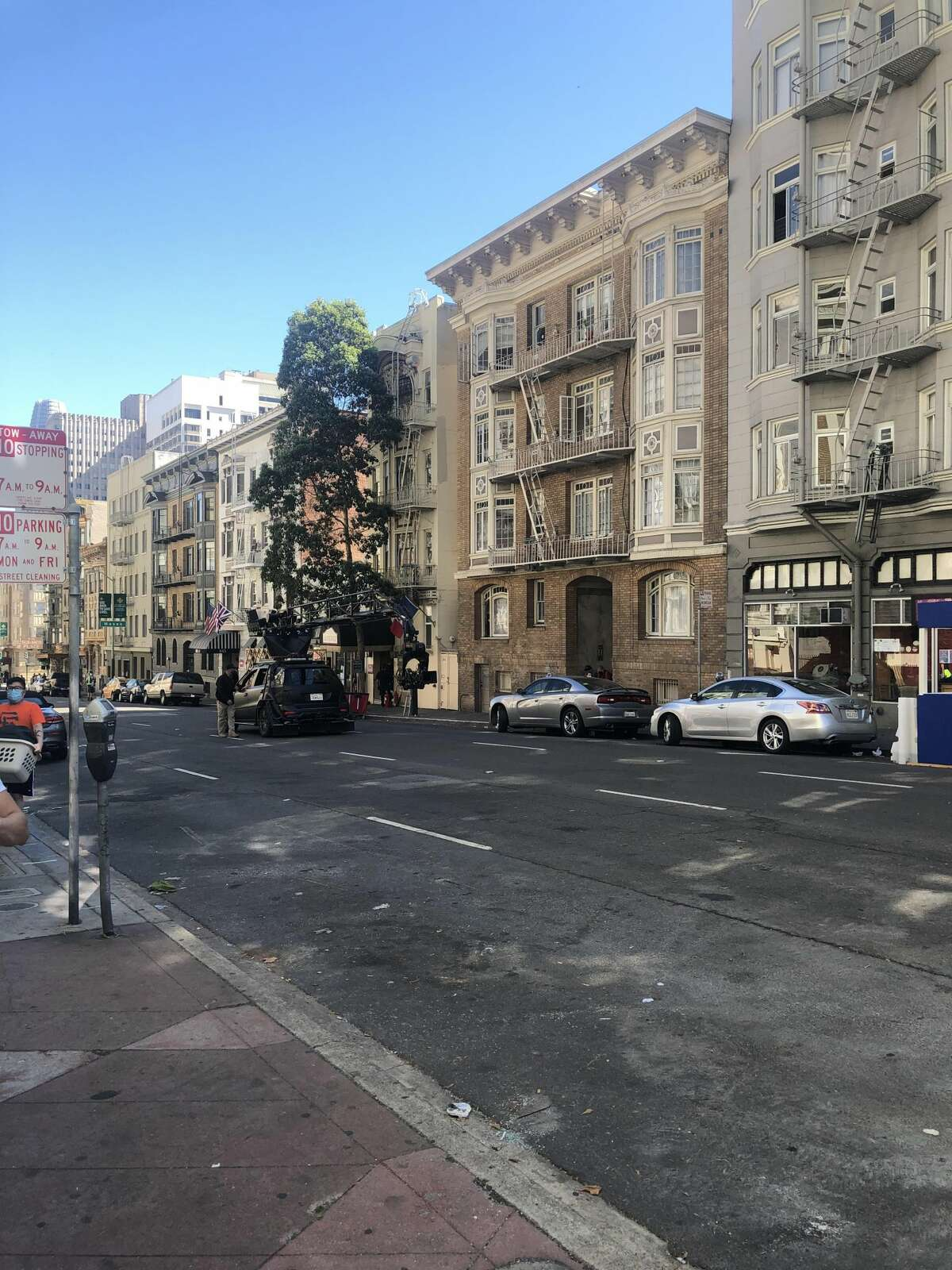 Nob Hill resident Aubrey Hebert witnessed film production taking place in front of Petite Auberge on Bush Street.