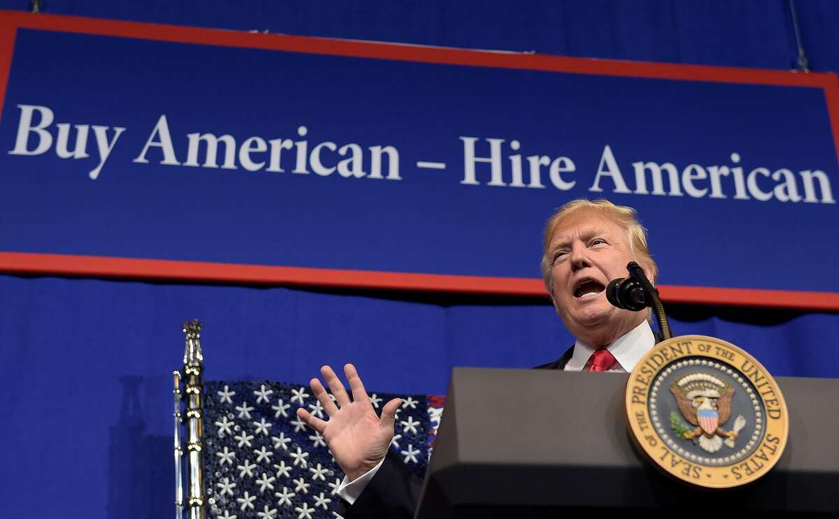 """President Trump has promoted a """"Buy American, Hire American"""" policy."""