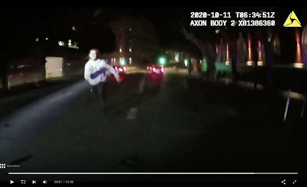 A man, later identified as Cesar Antonio Vargas, 21, is seen in footage captured by a body-worn video camera running towards San Francisco police officers after they confronted him on Oct. 10, 2020 during the investigation of a carjacking incident. When Vargas didn?•t heed the officers?• commands to stop advancing toward them, they opened fire, killing him.