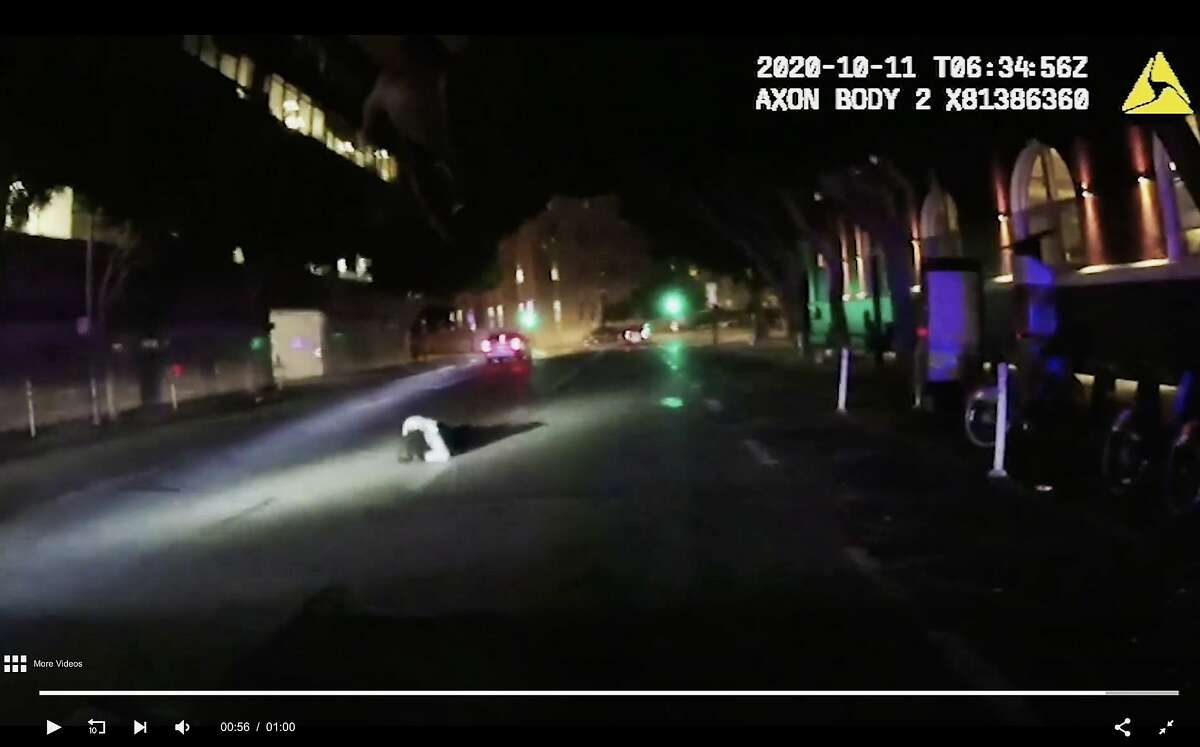 A man, later identified as Cesar Antonio Vargas, crumples to the street after being shot by San Francisco police officers on Oct. 10, 2020. The incident, captured in footage from a body-word video camera, reveals officers telling Vargas to stop running from them as they attempted to talk with him in connection with a car-jacking incident. Vargas instead charged the officers and was shot when he didn�t heed their command to stop his advance.