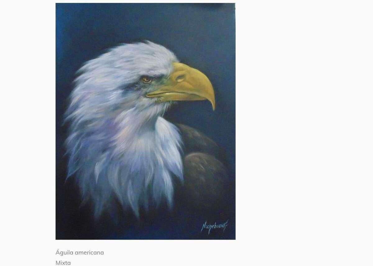 """La obra """"Águila americana"""" del artista local Arturo Nochebuena forma parte de la exposición """"Reino animal"""" que se exhibe en el Museo Reyes Meza de Nuevo Laredo, México."""