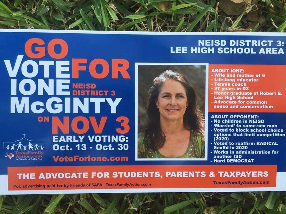 Campaign literature mailed to area residents by the San Antonio Family Association urged voters to name Ione McGinty to the board that runs North East ISD.