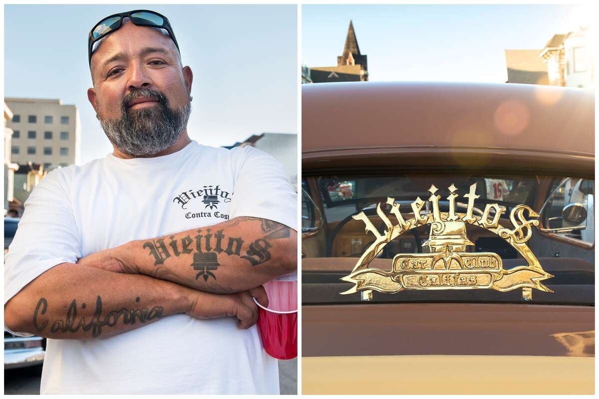 George Murillo poses by his car in this combination of photos from the 6th annual Cold Frisco Nights event in the Mission.