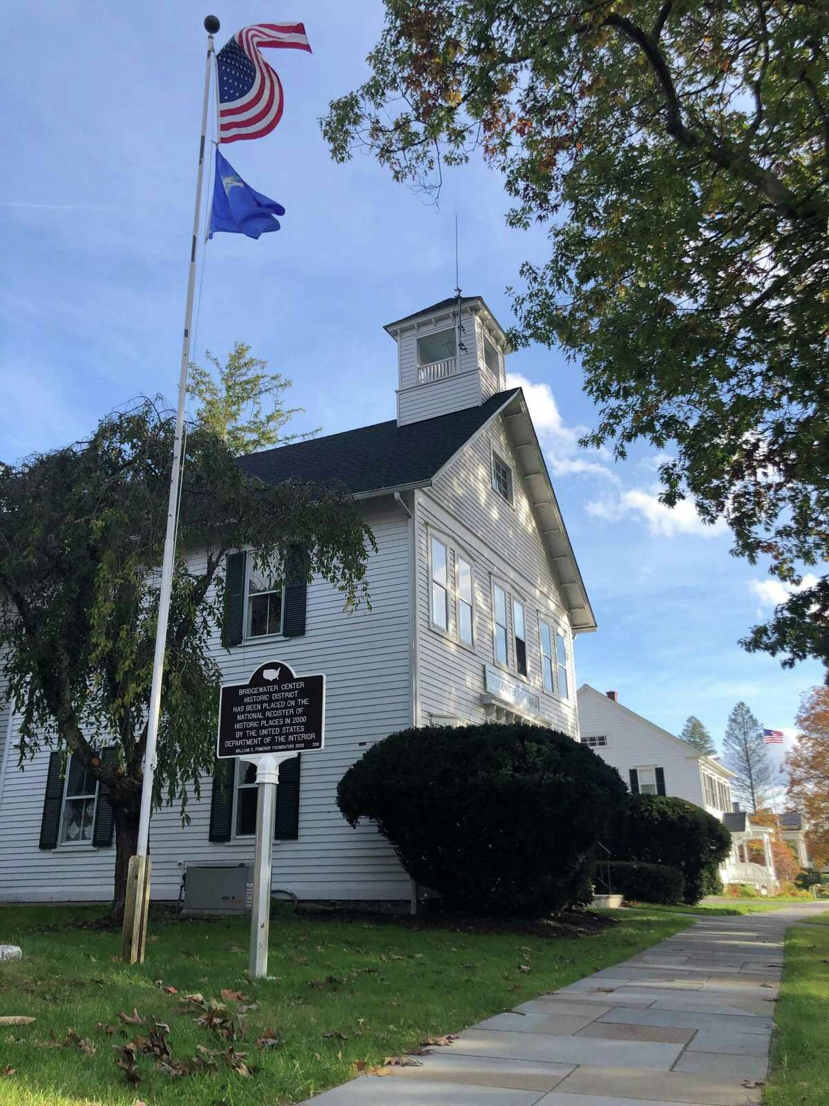 A new sign has been installed along Route 133 in Bridgewater, recognizing the town's historic district. The sign is in front of town hall, above.