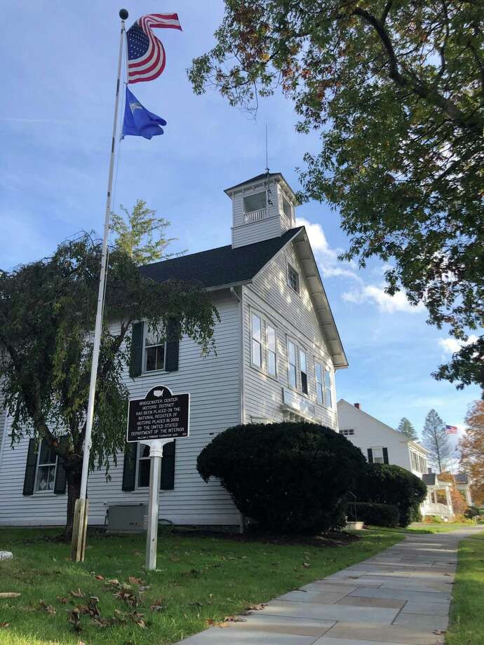 A new sign has been installed along Route 133 in Bridgewater, recognizing the town's historic district. The sign is in front of town hall, above. Photo: Deborah Rose /Hearst Connecticut Media / Danbury News Times