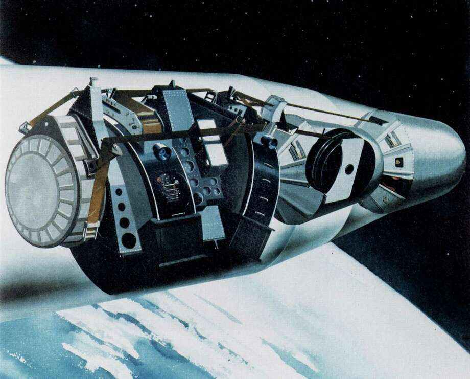 Artist concept of the Corona spacecraft. Developed by Lockheed in Sunnyvale, the Corona reconnaissance satellite system provided invaluable intelligence on a a scale never before considered possible. Photo: National Archives