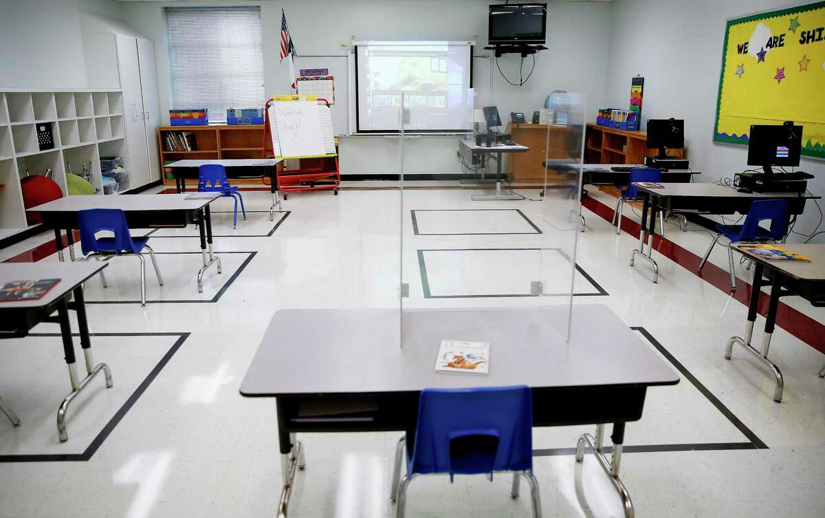 An empty classroom at the first day of school at Seguin Elementary School in Houston on Tuesday, Sept. 8, 2020.