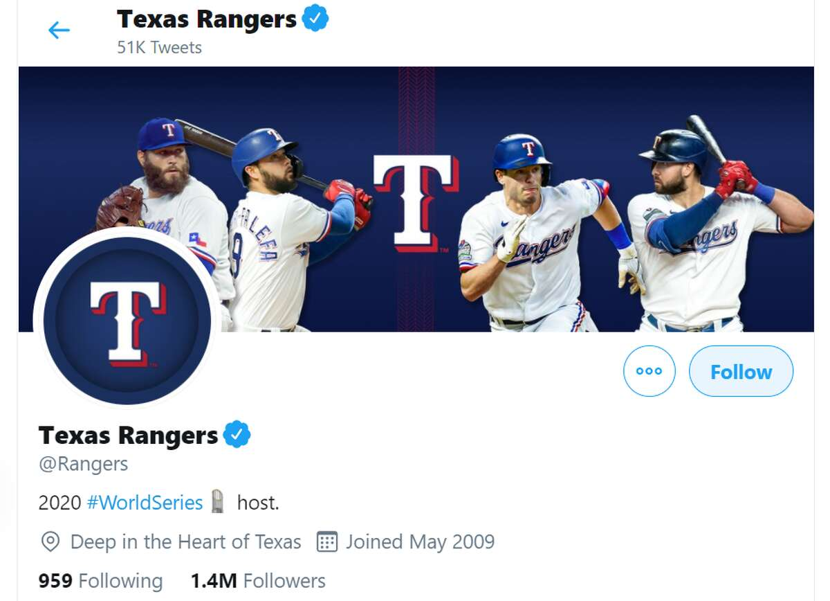 The Twitter bio for the Texas Rangers celebrates that the World Series - which they are not playing in - is being played in their stadium.
