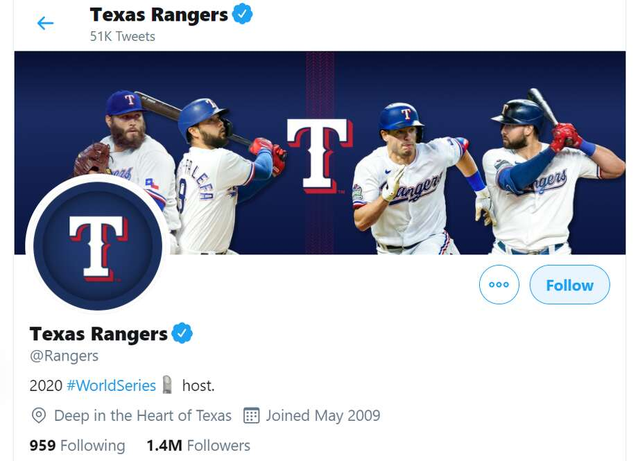 The Twitter bio for the Texas Rangers celebrates that the World Series - which they are not playing in - is being played in their stadium. Photo: Twitter.com/Rangers