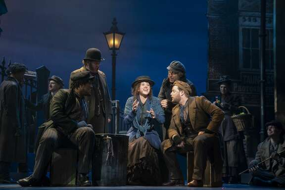 Shavey Brown, Mark Aldrich, Shereen Ahmed (center), William Michals and Colin Anderson in The Lincoln Center Theater Production of Lerner & Loewe's MY FAIR LADY