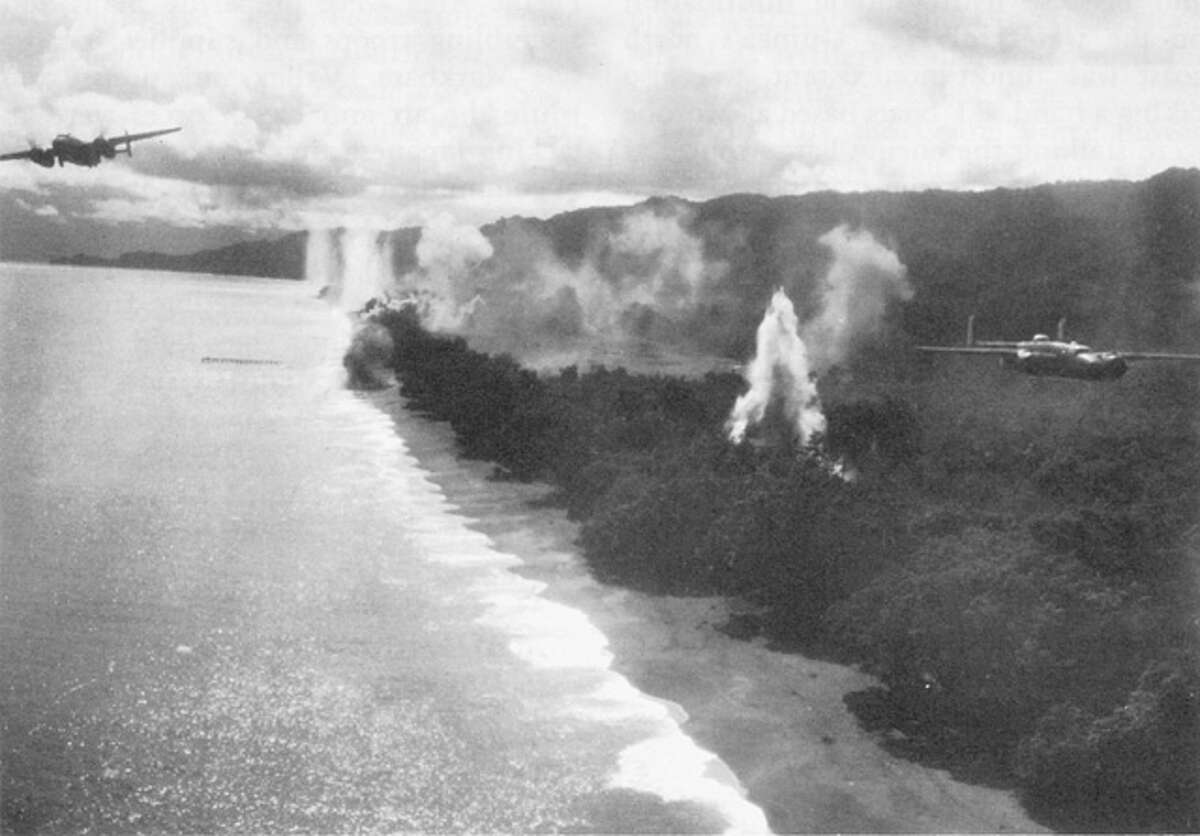 American bombers destroy targets in Wewak, New Guinea during the Bombing of Wewak in August 1943.