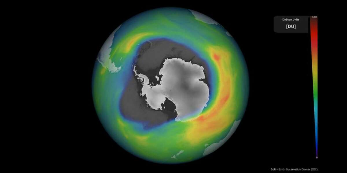 The scale on the right shows Dobson units, a measurement of the amount of ozone in the atmosphere. The open area over most of Antarctica indicates the size of the 2020 ozone hole.