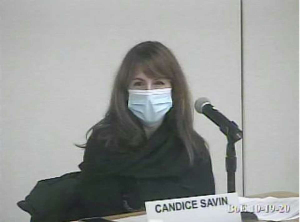 Board of Education Chair Candice Savin speaks at a BOE meeting on Monday. Taken Oct. 19, 2020.