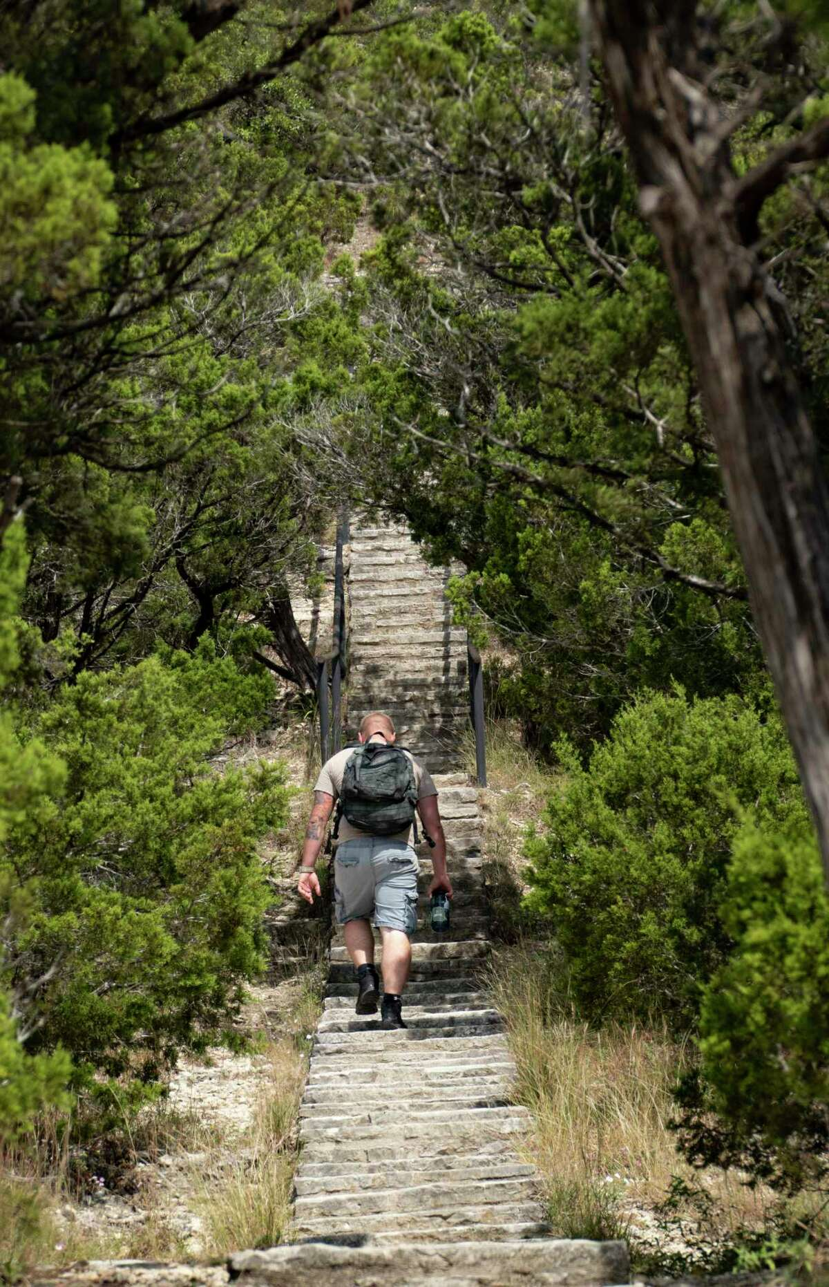 Climbing to the top of Old Baldy requires negotiating 218 rock steps.