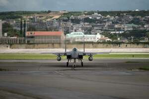 In this June 29, 2017, photo made available by the U.S. Air Force, an F-15 fighter plane taxis back to the hangar at Kadena Air Base, Japan. The Defense Department has been figuring out how to provide help and justice when the children of service members sexually assault each other on military bases since Congress required reforms in 2018. Those reforms are starting to rollout, but as one current case at Kadena shows, that rollout has been uneven. (Airman 1st Class Greg Erwin/U.S. Air Force via AP)