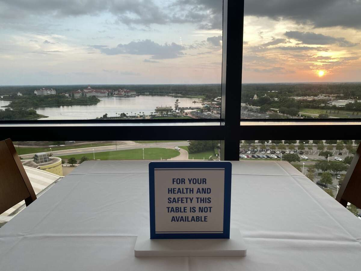A table reserved for social distancing at California Grill at Walt Disney World's Contemporary Resort in Orlando, Fla.