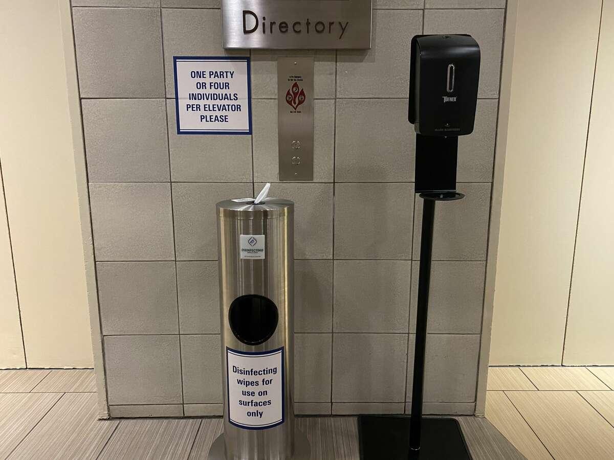 A sanitization station at Walt Disney World's Contemporary Resort in Orlando, Fla.
