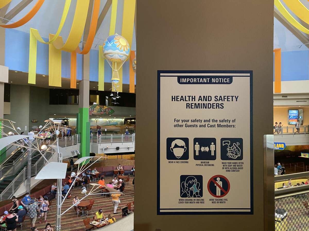 Safety reminders have been posted all over Walt Disney World in Orlando, Fla.