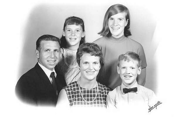 This is a family photo of Harold and Jean (Killingbeck) Frost and their three children. Eric (Justin's dad) is by his parents. His sisters, Kathy and Lorie, are standing in the back. Harold is Justin's grandpa, and the two share a mutual love of family history. (Photo provided)