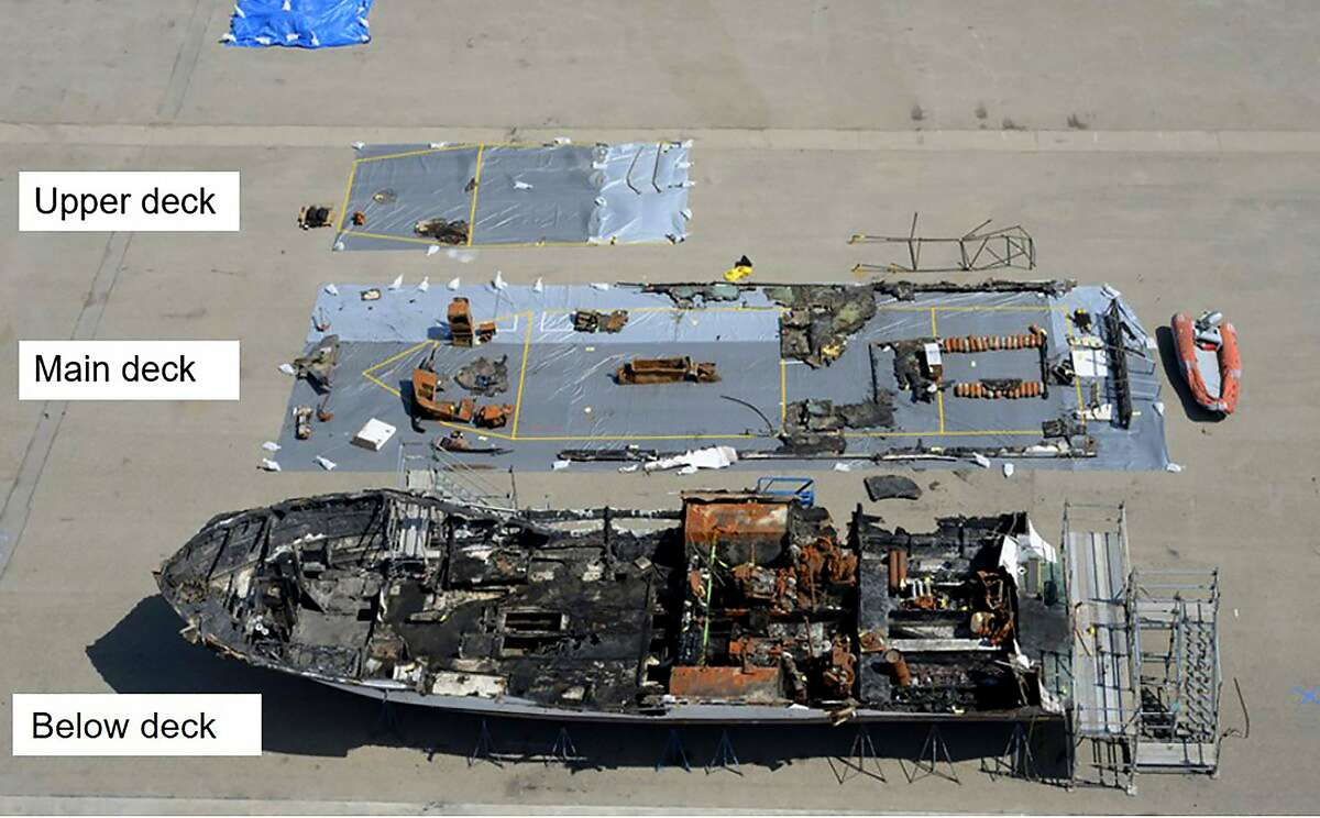 The wreckage of the dive boat Conception lies on a dock in Southern California. The fire killed 34.