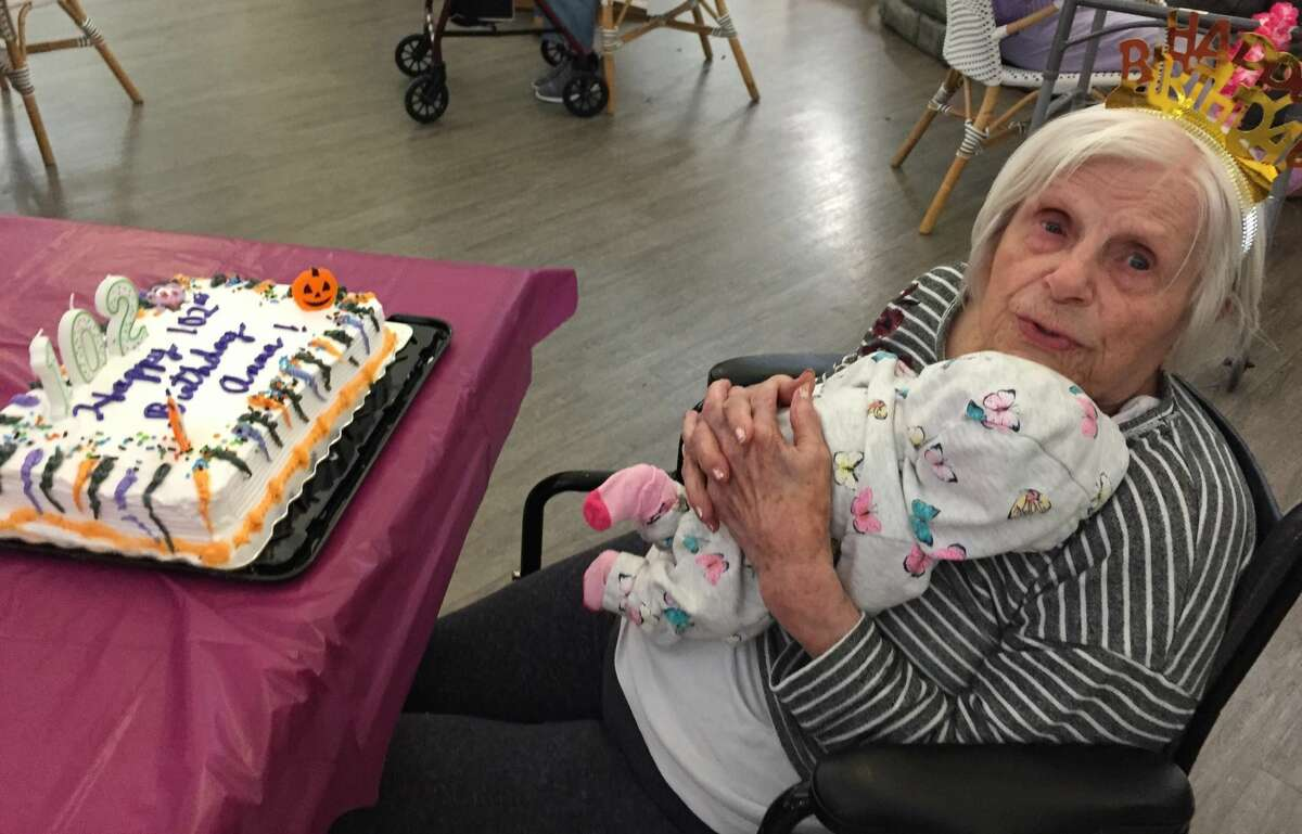 Anna Claremont, born in Troy and a resident at Peregrine Senior Living in Colonie, turned 102 on Oct. 15. Here she is at her birthday party in a photo provided by Activities Director Susan Dent.