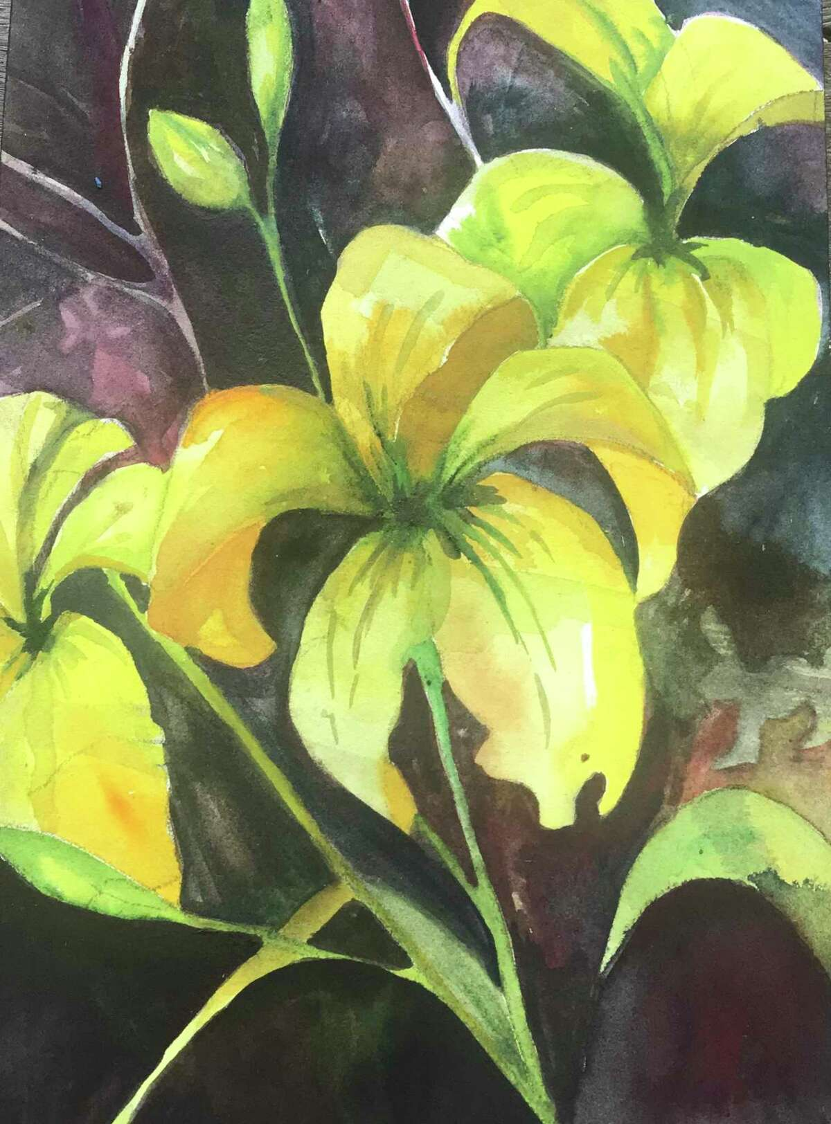 New works by artists from Essex, Chester and Deep River will be shown at Earth and Fire Art Studio starting Saturday, Oct. 24 through Jan. 23. Pictured, Yellow Day Lilies, Claudia Van Nes.
