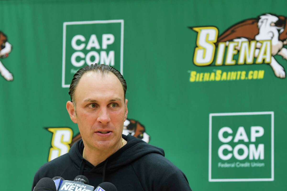 Siena men's basketball coach Carmen Maciariello speaks at a press conference at the college on Tuesday, Oct. 20, 2020, in Loudonville, N.Y. (Paul Buckowski/Times Union)