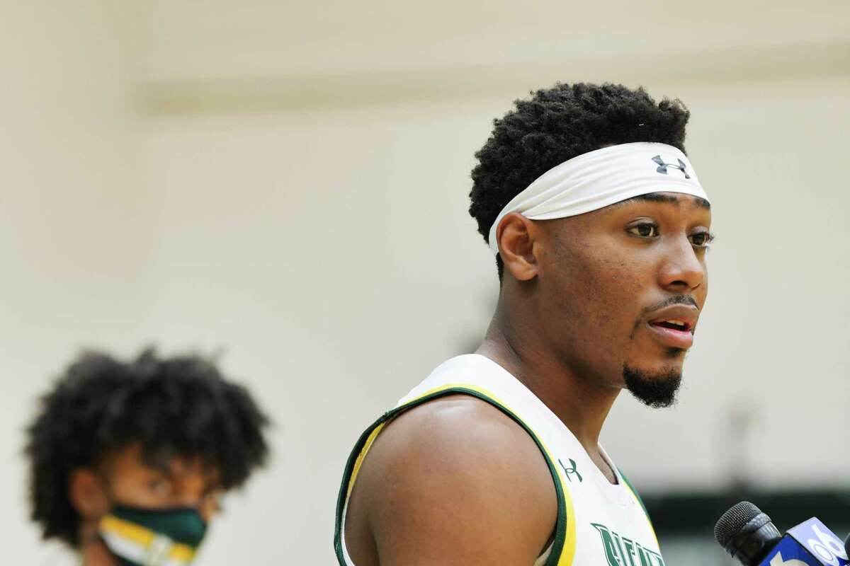 Siena men's basketball player Jalen Pickett speaks at a press conference at the college on Tuesday, Oct. 20, 2020, in Loudonville, N.Y. (Paul Buckowski/Times Union)