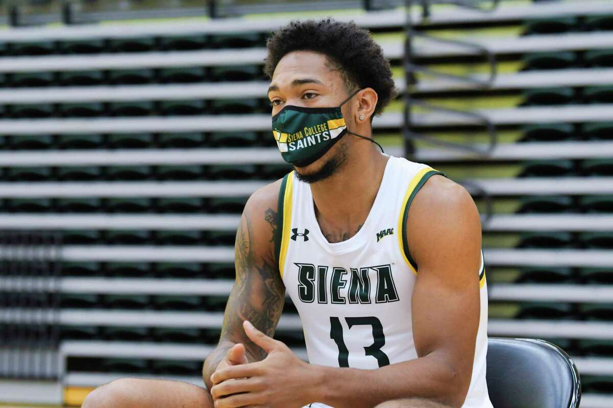 Siena men's basketball player Dana Tate, Jr., speaks at a press conference at the college on Tuesday, Oct. 20, 2020, in Loudonville, N.Y. (Paul Buckowski/Times Union)