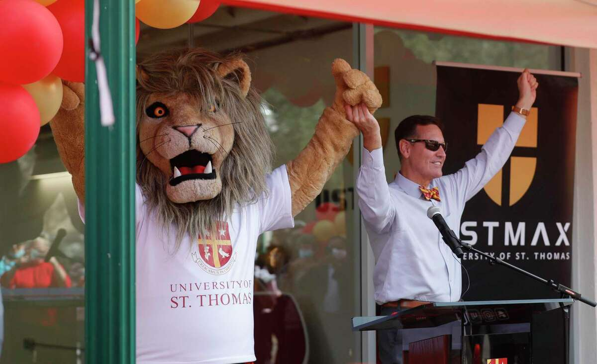 St. Thomas University President Richard Ludwick announced the university will give free tuition to students for this upcoming spring semester during a ribbon cutting for the university's new 1,500 square foot UST MAX Center microcampus, Tuesday, Oct. 20, 2020, in downtown Conroe.