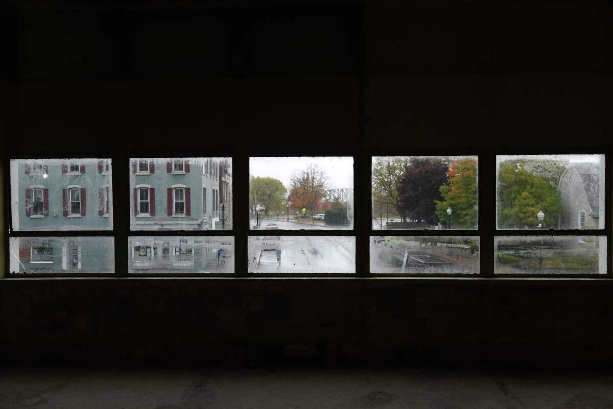 View of Church Street at Erie Boulevard seen from inside the former Beech-Nut factory on Tuesday, Oct. 20, 2020, in Canajoharie, N.Y. (Will Waldron/Times Union)