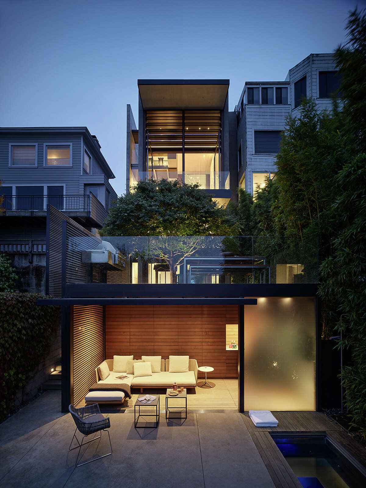 The home is a very modern twist on the S.F. townhouse, offering four beds and four and a half baths.